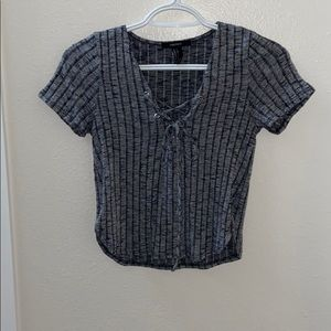 Forever XXI Grey ribbed crop top